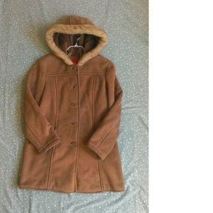 Esprit Faux Suede Hooded Coat Sz L
